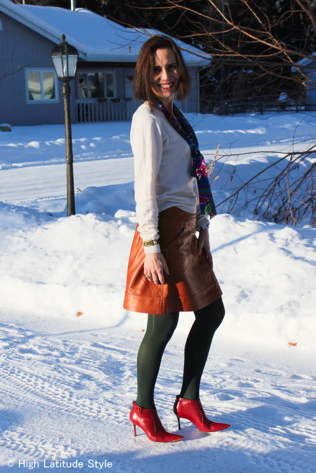 fashionover40 casual outfit with oblong floral print  silk scarf