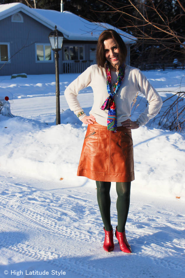 fashionover50 casual work outfit with oblong scarf