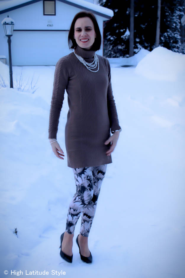 fashion over 50 woman in leggings with cable-knit dress