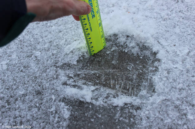 measuring the ice thickness after freezing rain in Fairbanks, Alaska | High Latitude Style | http://www.highlatitudestyle.com