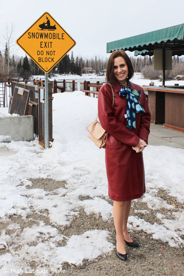 #over40 #over50 Alaska spring outfit in front of the ice bridge entrance | High Latitude Style | http://www.highlatitudestyle.com