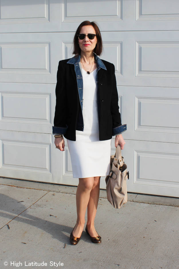 #over40 #over50 summer dress styled for work on chilly spring days | High Latitude Style | http://www.highlatitudestyle.com
