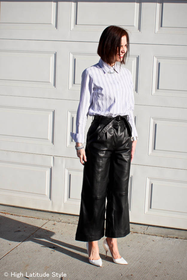 fashionover40 modern version of Katharine Hepburn culottes with shirt