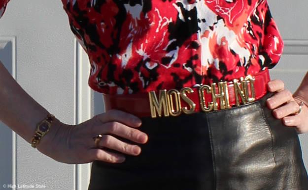 fashion over 40 Moschino belt details