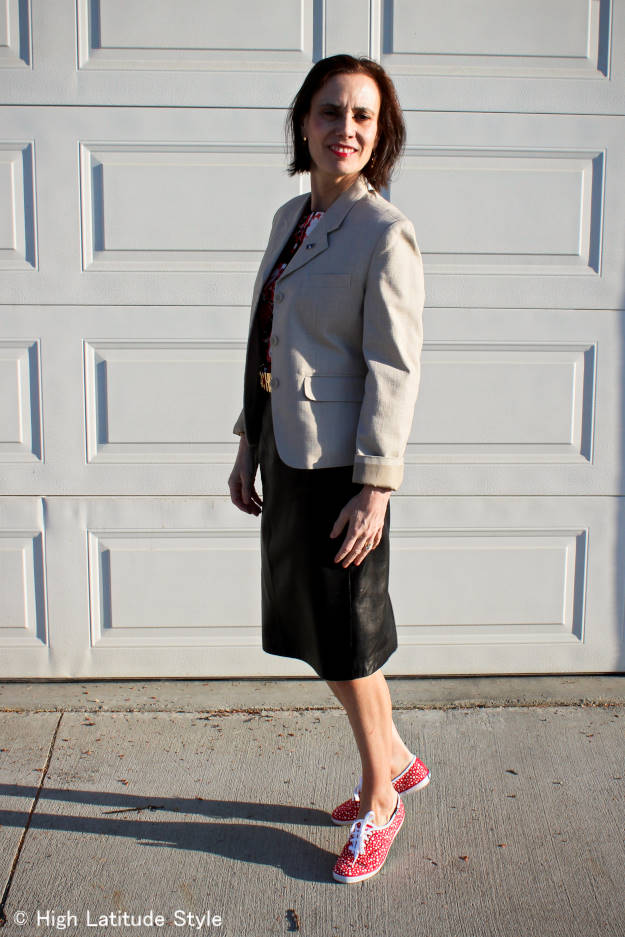 #fashionover40 mature casual work look with skirt and sneakers
