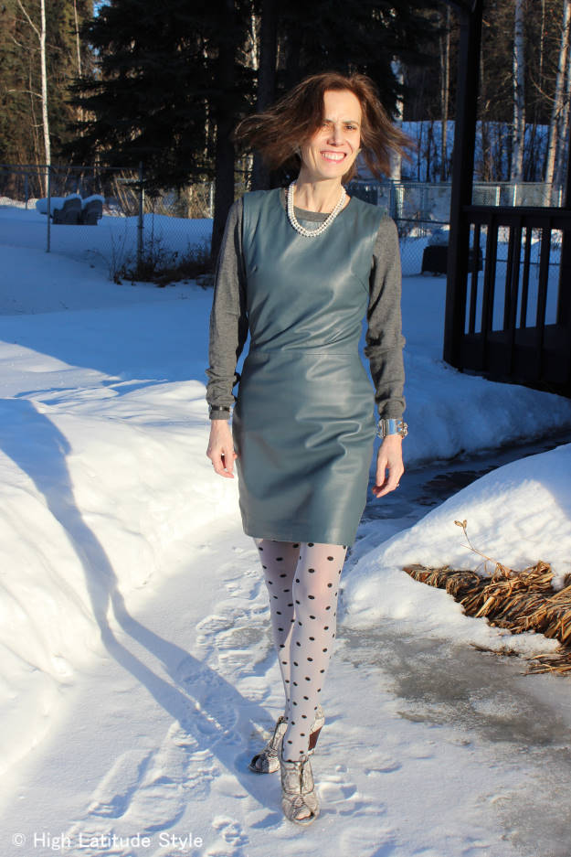 #over40 #over50 reflection on a leather dress   | High Latitude Style | http://www.highlatitudestyle.com