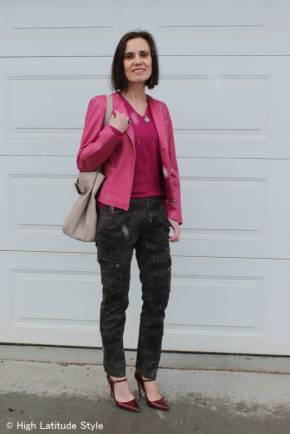 #over40 wearing camouflage cargos and pink for spread beauty challenge | High Latitude Style | http://www.highlatitudestyle.com