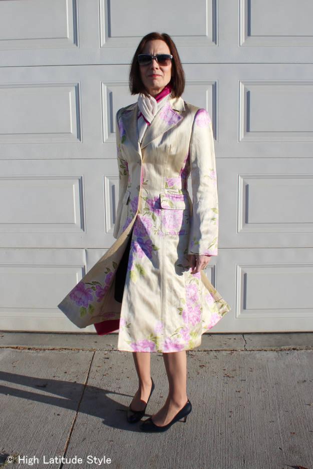 mature style spring silk coat