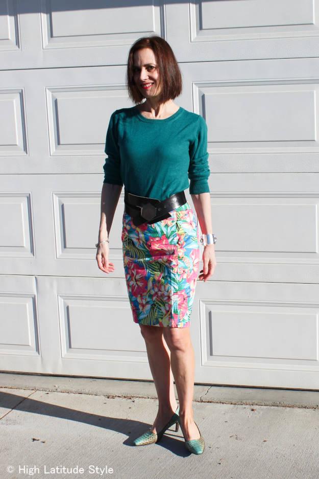 fashionover40 woman in tropical print pencil skir