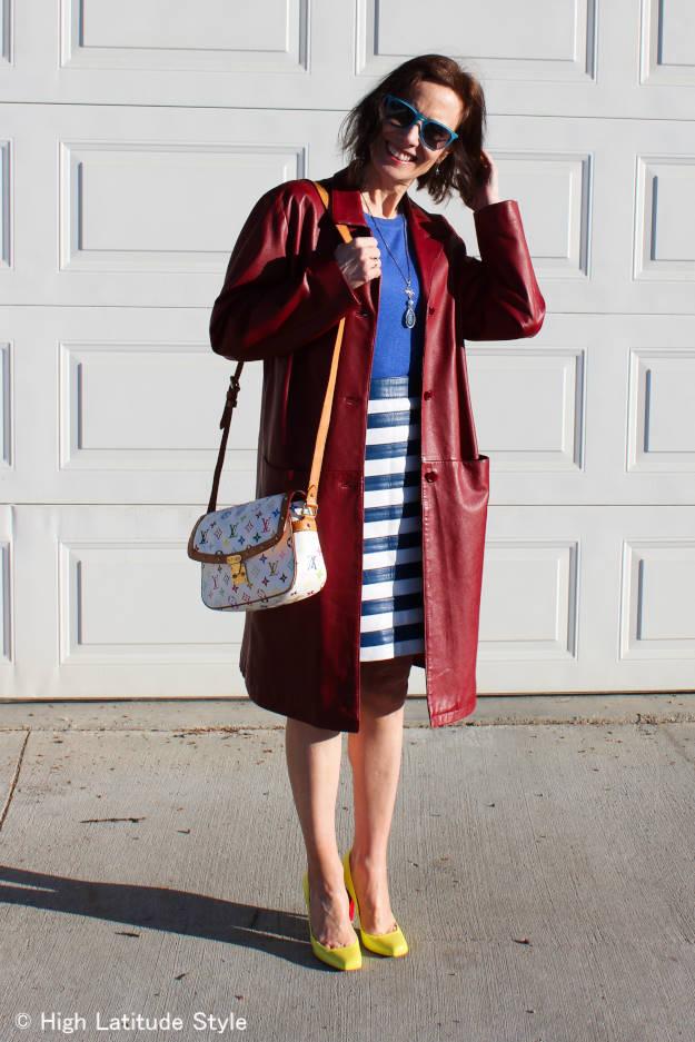 #fashionafter40 striped leather skirt | High Latitude Style | http://www.highlatitudestyle.com
