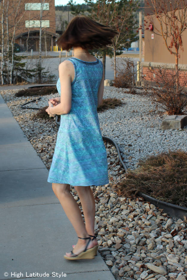 HSN review mature woman in Sigrid Olsen shift dress