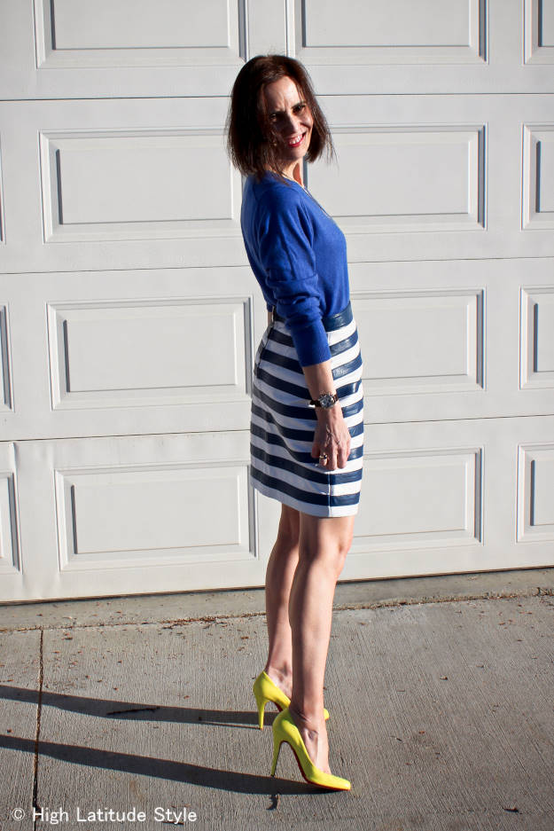 #fashionbeyond40  work outfit with striped skirt | High Latitude Style | http://www.highlatitudestyle.com