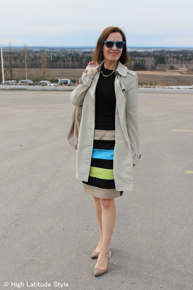 #styleover40 work outfit with trench coat