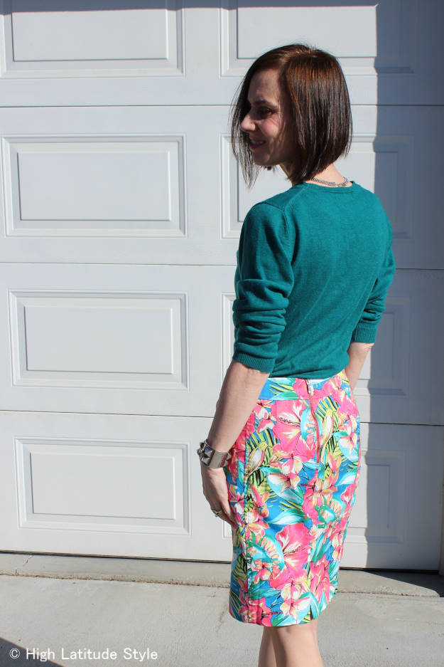 #over40 #over50 work outfit with tropical print skirt | High Latitude Style |http://wp.me/p3FTnC-3e8