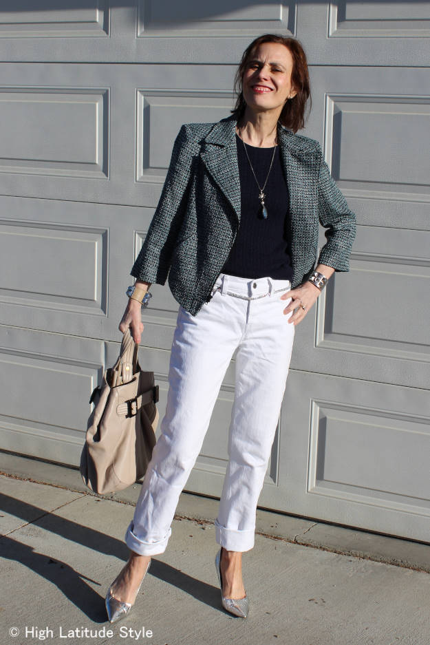 midlife woman in casual outfit