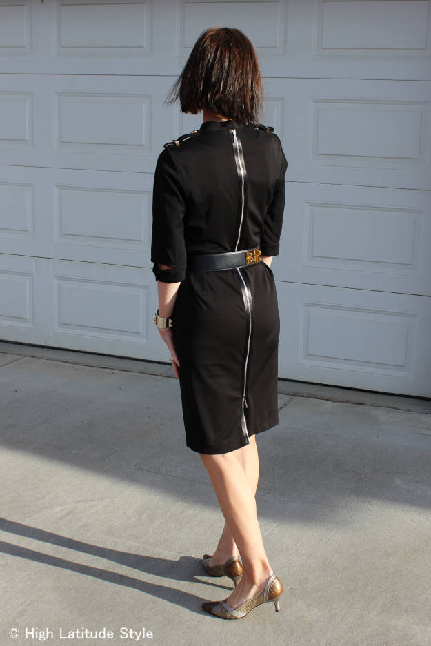 fashion over 40  black dress with back zipper