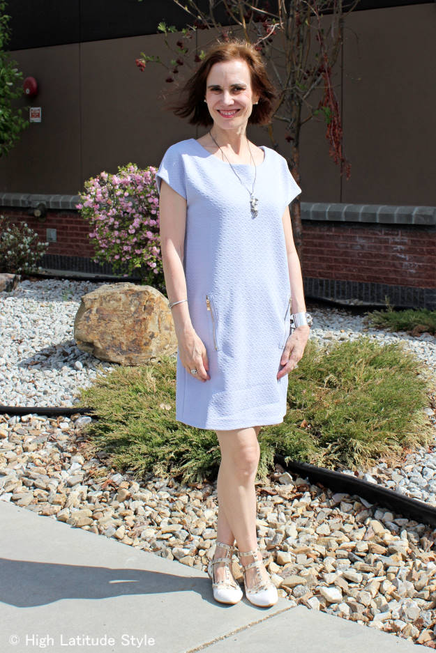 midlife woman in Blue Vanilla tunic dress