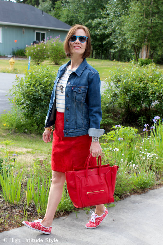 #maturefashion mature patriotic OOTD in red, white and blue @ http://www.highlatitudestyle.com