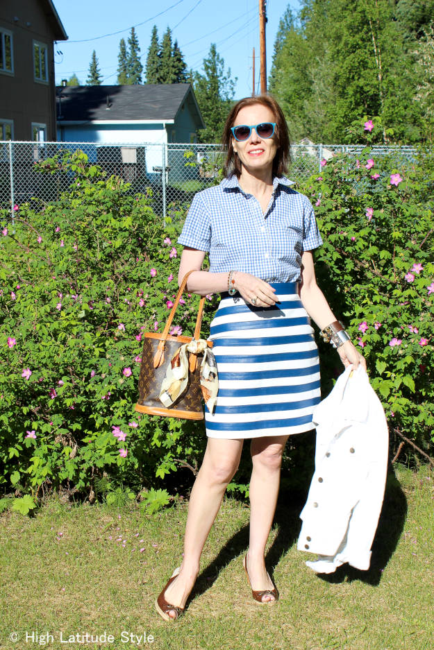 #over40fashion work outfit in white and blue summer trend | High Latitude Style | http://www.highlatitudestyle.com