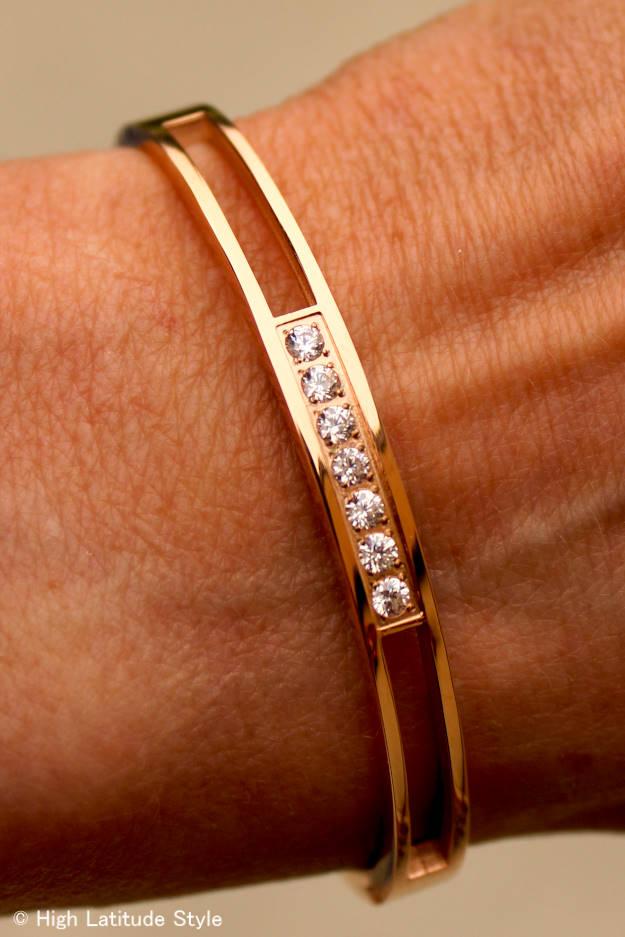 #RobertMatthew Rose Gold Madison Bangle with seven AAA cubic zirconium stones in contemporary classic design