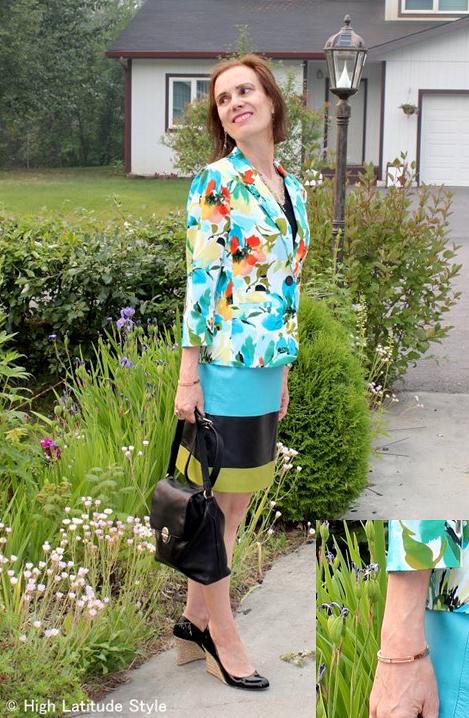 #fashionover50 daring work outfit with Rose Gold Madison bangle c/o Robert Matthew