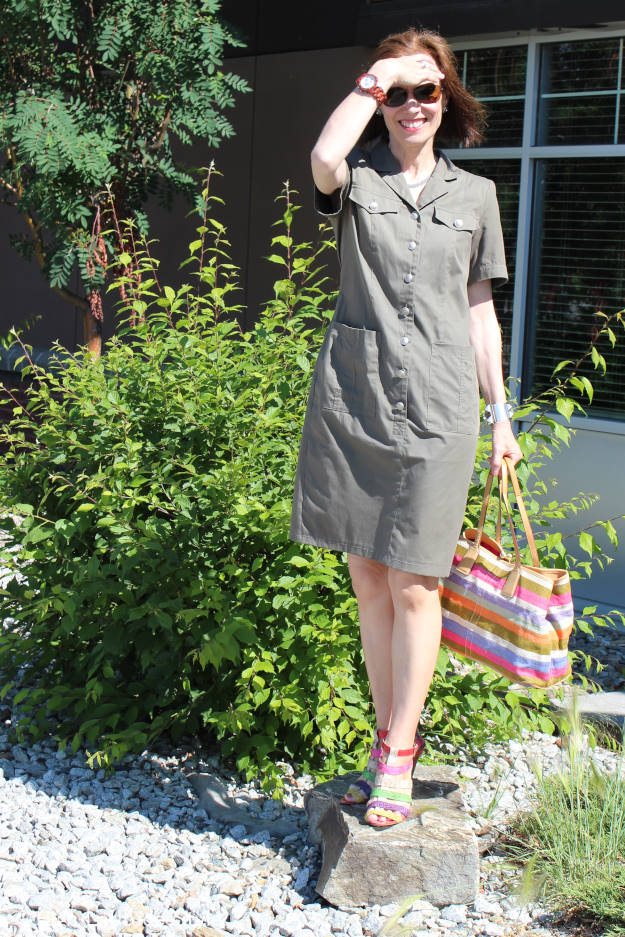#styleover40 woman in military inspired shirt dress