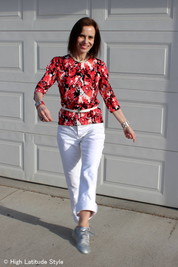 mature woman wearing floral print to work