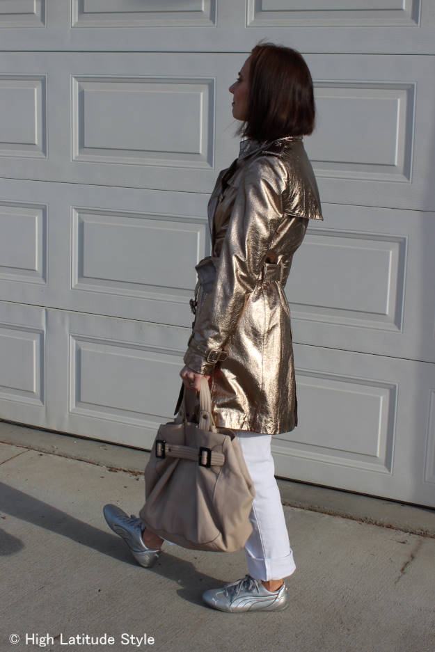#over50fashion leather trench coat trend for fall