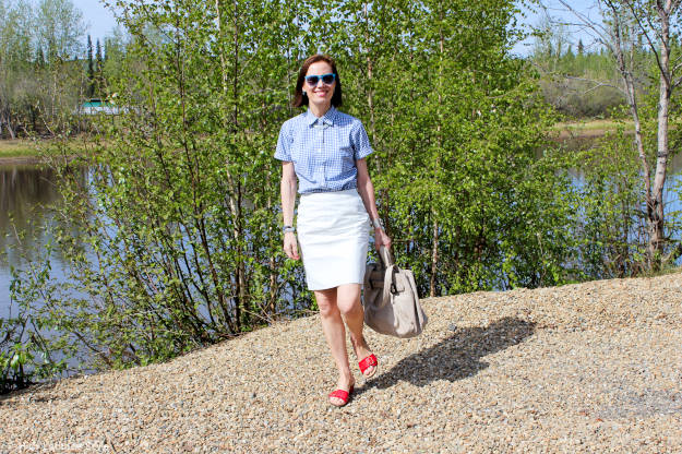 #Vionic #over40 red-white-blue summer look   High Latitude Style   http://www.highlatitudestyle.com