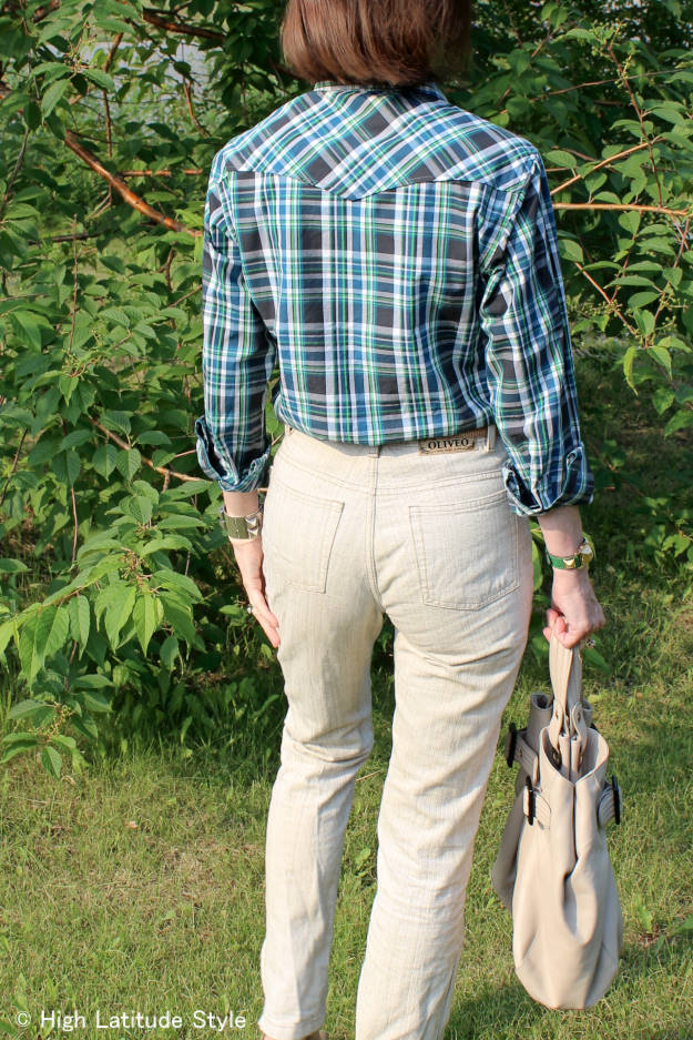 #fashionover40 #fashionover50 plaid shirt with linen pants | High Latitude Style | http://www.highlatitudestyle.com