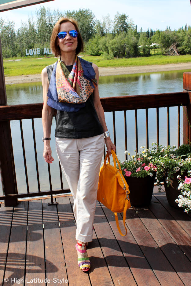 #over50fashion summer outfit with leather shell http://www.highlatitudestyle.com