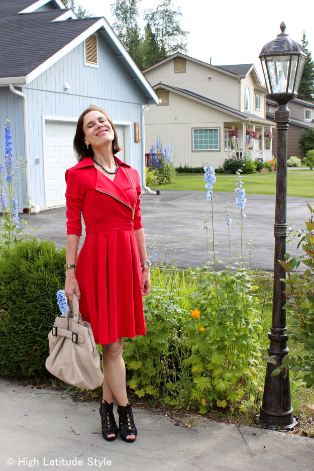style over 40 mature woman with cotton jersey tailored dress