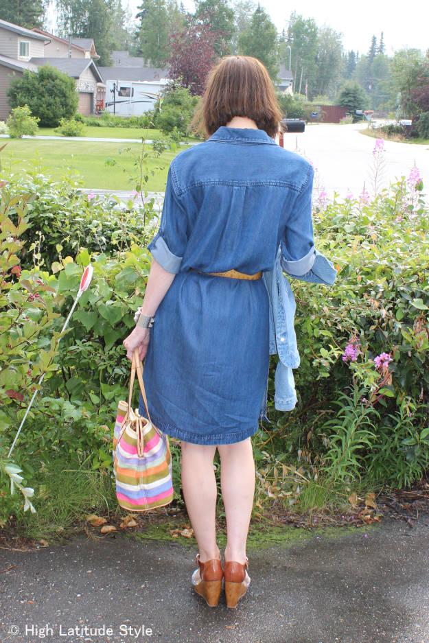 #maturefashion mature woman in denim shirt dress @ http://www.highlatitudestyle.com