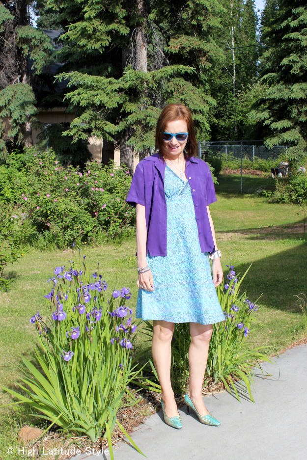 #over40fashion #over50fashion printed dress with blouse as jacket | High Latitude Style | http://www.highlatitudestyle.com