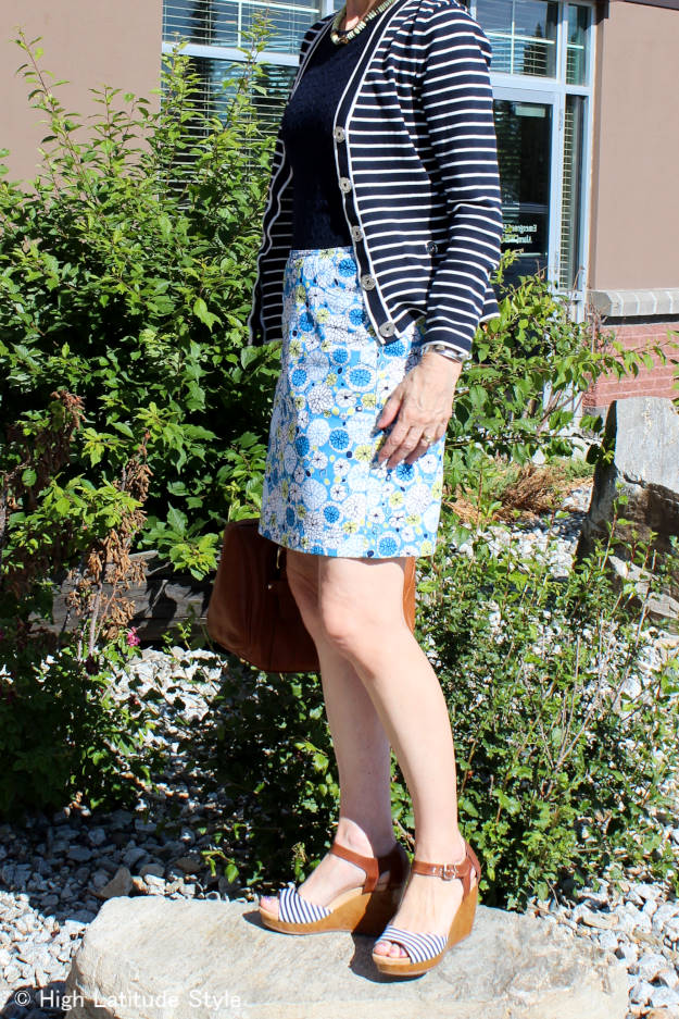 C#fashionover40 #fashionover50 summer work outfit mixing stripes and floral   High Latitude Style   http://www.highlatitudestyle.com