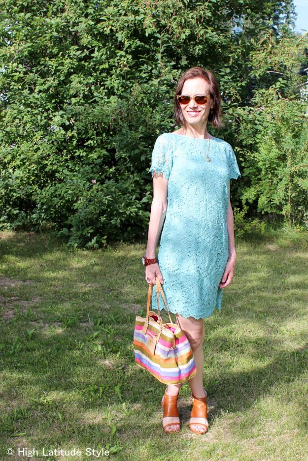 #over40fashion mature woman in a lace sheath dress