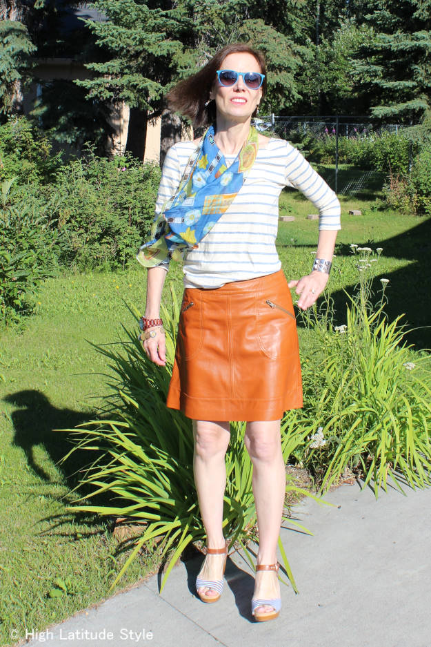#fashion-over-40 #fashion-over-50 casual look with leather skirt | High Latitude Style | http://www.highlatitudestyle.com