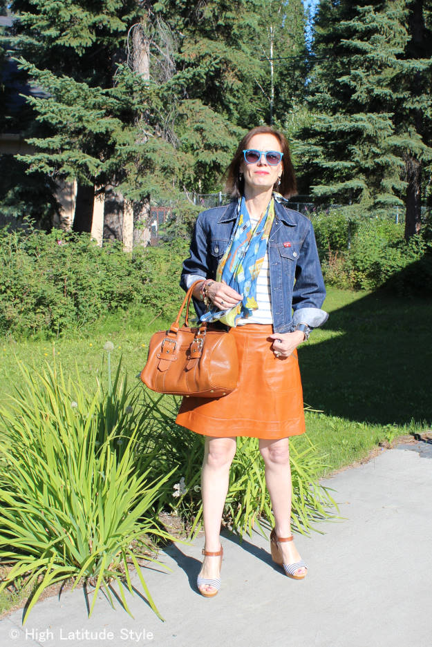 #fashion-over-40 #fashion-over-50 denim jacket with leather skirt | High Latitude Style | http://www.highlatitudestyle.com