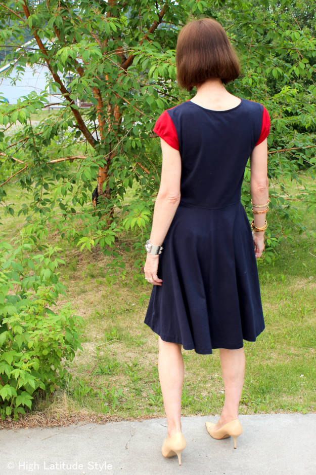 #over50fashion #over40fashion back view of color block fit-and-flare dance dress | High Latitude Style | http://www.highlatitudestyle.com