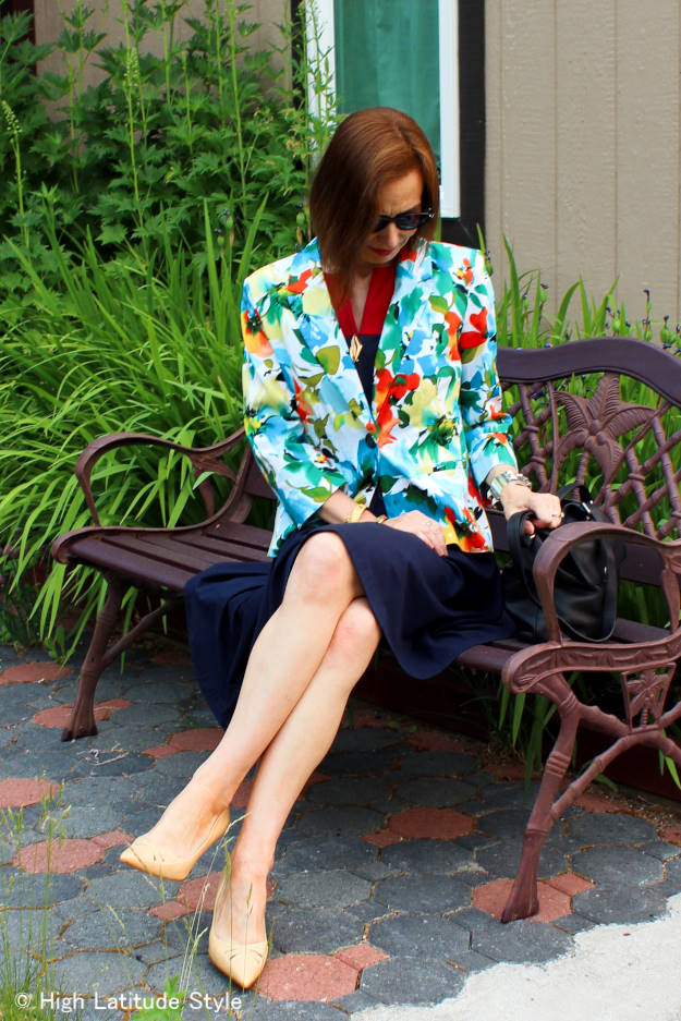 #over50fashion #over40fashion blazer with fit-and-flare dress for work | High Latitude Style | http://www.highlatitudestyle.com