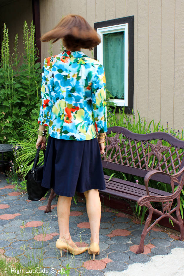 #over50fashion #over40fashion back view of floral blazer with fit-and-flare dress for work | High Latitude Style | http://www.highlatitudestyle.com