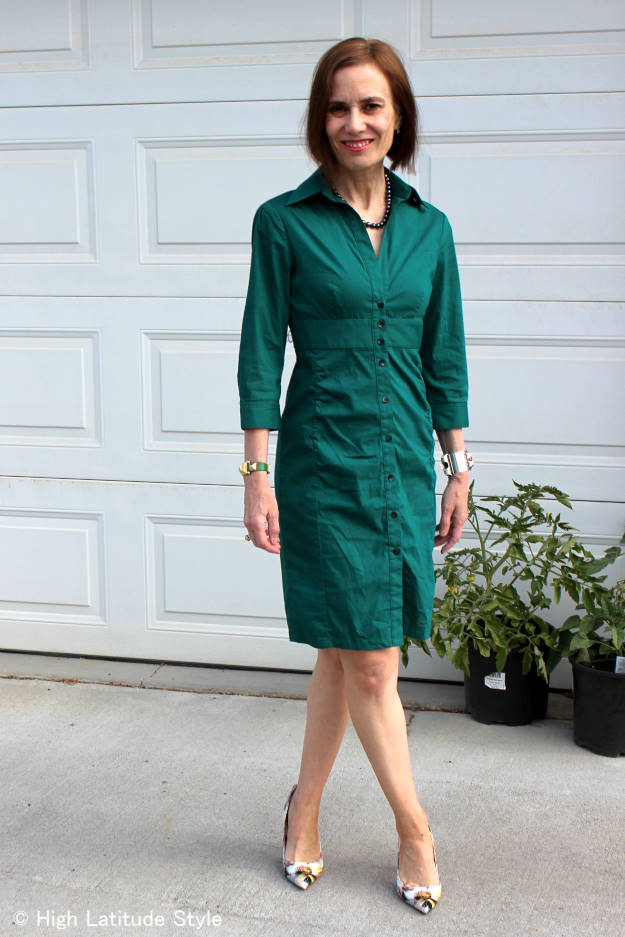 #fashionover40 #over50fashion shirt dress for work | High Latitude Style | http://www.highlatitudestyle.com