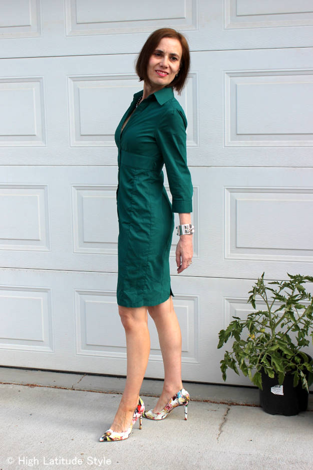 #over40fashion #over50fashion shirt dress for work | High Latitude Style | http://www.highlatitudestyle.com
