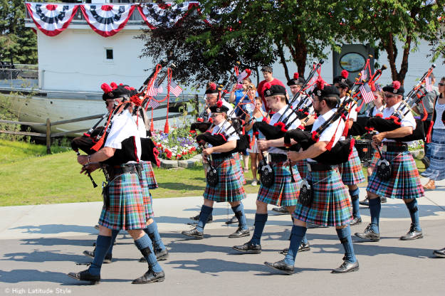 #travel #Alaska bag pipe band playing in Pioneer Park on Independence Day | High Latitude Style | http://www.highlatitudestyle.com