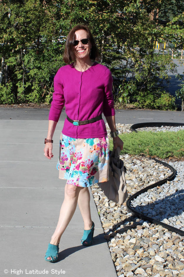 fashionover50 maximizing the wardrobe by wearing a dress as skirt, cardigan as top