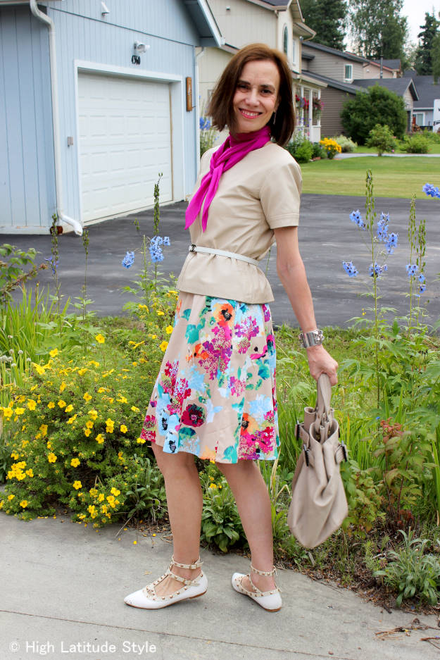 #fashionover40 #fashionover50 gettiing more out of my wardrobe by wearing a dress as skirt side view | High Latitude Style | http://www.highlatitudestyle.com