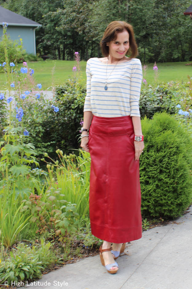 fashion over 50 woman in maxi leather skirt