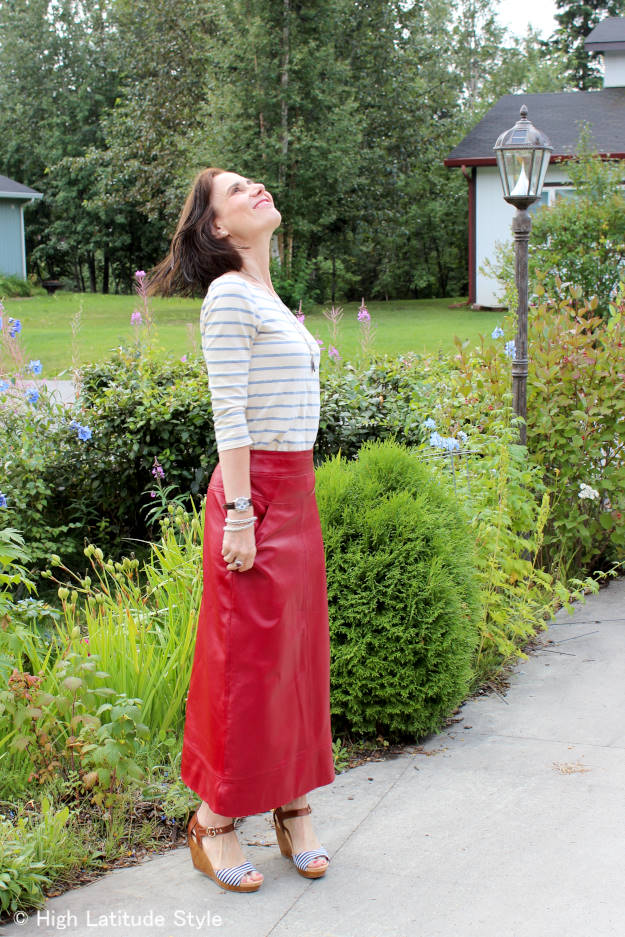 fashion over 40 maxi leather skirt with striped shirt