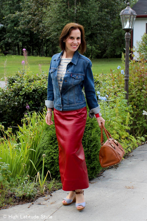 fashion over 50 fall OOTD with leather skirt