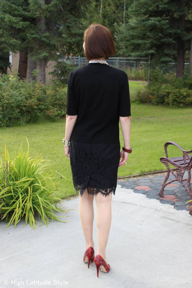 fashionover40 OOTD cardigan with lace skirt